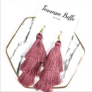 Mauve Pink Tassel Fringe Dangle Statement Earrings